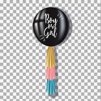Zwarte ballonjongen of -meisje voor gender onthullen