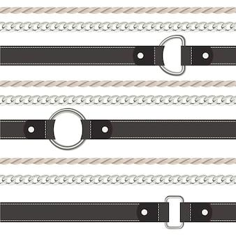 Zwarte band, touw en ketting naadloos patroon.