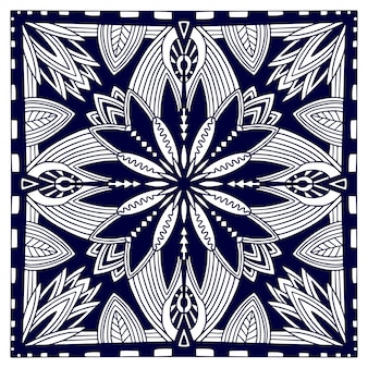 Zwarte bandana-print. oosters bloemensjaalpatroon. vector zwart-witte achtergrond. sjabloon voor textiel. sier vierkant patroon met geometrisch ornament.
