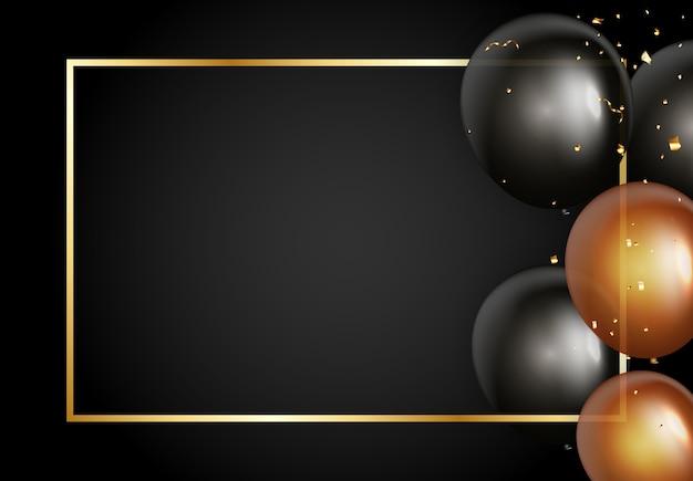 Zwarte banner met gouden frame en ballonnen.