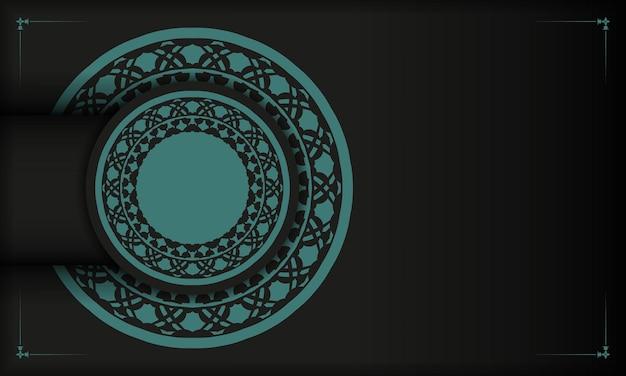 Zwarte banner met griekse blauwe ornamenten en plaats voor uw tekst en logo. briefkaartontwerp met abstracte patronen.