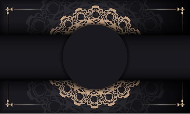 Zwarte banner met indiaas bruin ornament en plaats onder je tekst Premium Vector