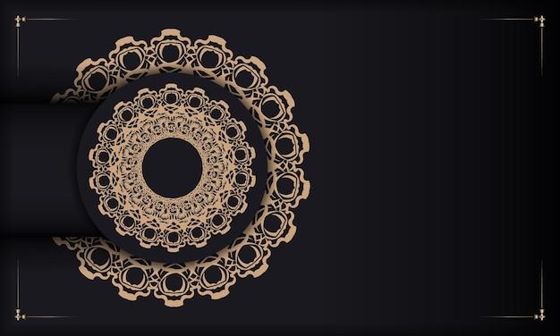 Zwarte banner met indiaas bruin ornament en plaats onder je tekst