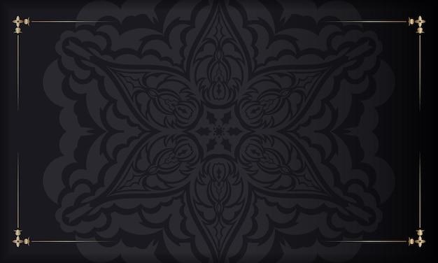 Zwarte banner met luxe ornamenten voor uw logo. vector briefkaart ontwerp met vintage patronen.