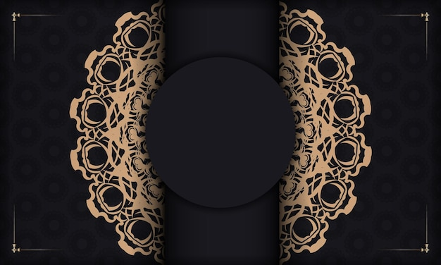 Zwarte banner met luxueus bruin patroon voor ontwerp onder uw tekst