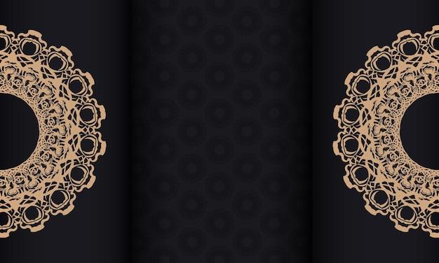 Zwarte banner met mandala bruin ornament en plaats voor uw tekst