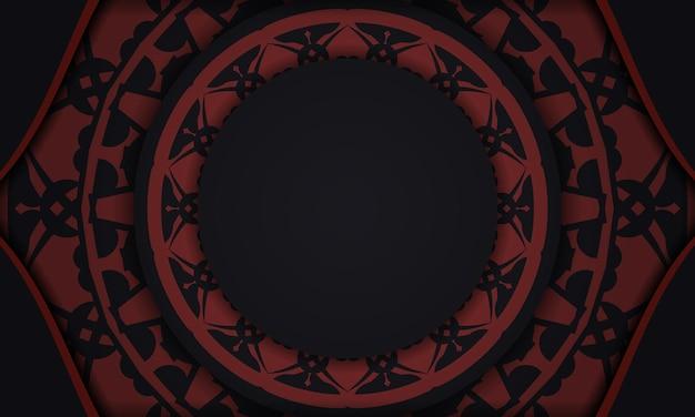 Zwarte banner met ornamenten en plaats voor uw tekst. printklare ontwerpachtergrond met vintage patronen.