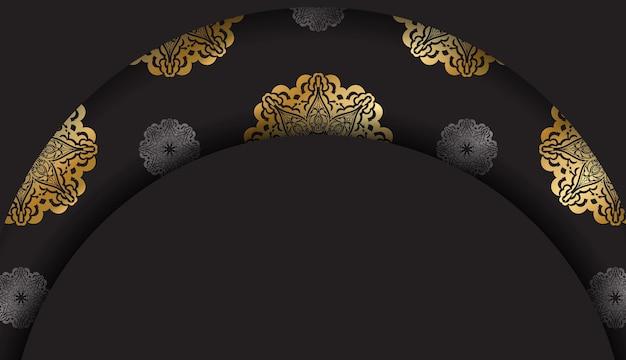 Zwarte banner met vintage gouden patroon en ruimte voor tekst