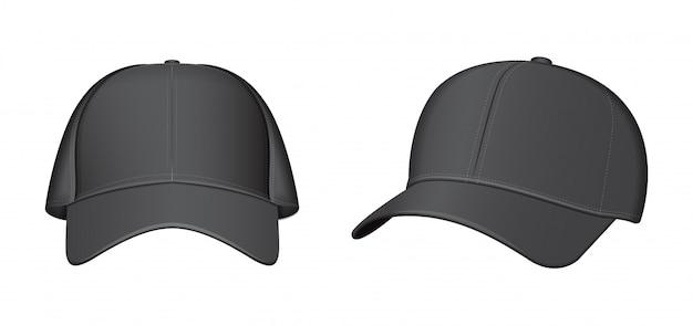 Zwarte baseballcap set.