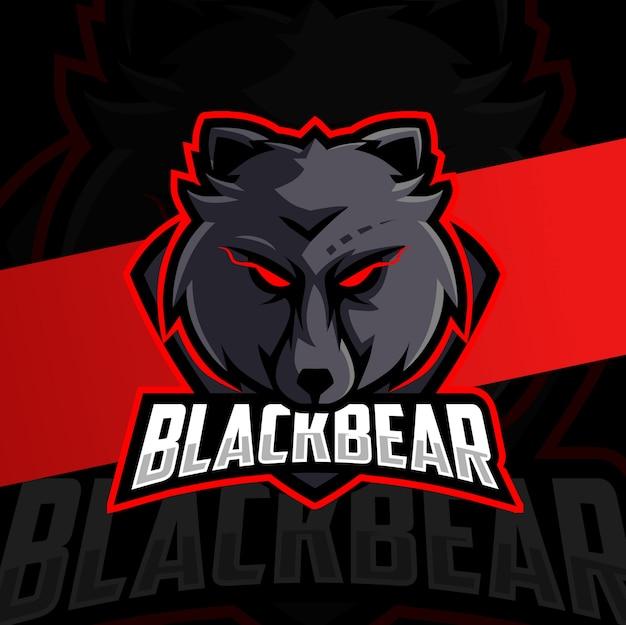 Zwarte beer mascotte esport logo ontwerp