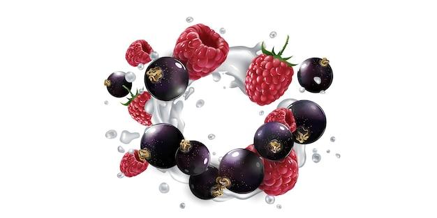 Zwarte bessen en frambozen in een scheutje yoghurt of melk.