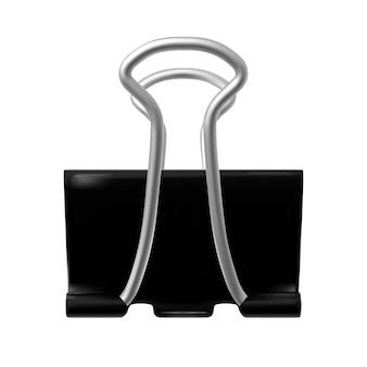Zwarte binder paperclip. document bevestigingsmiddel dat op witte achtergrond wordt geïsoleerd. foto realistische vectorillustratie.