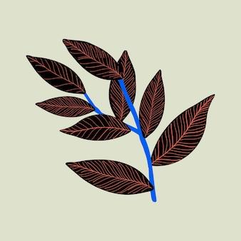 Zwarte blad tropische illustratie