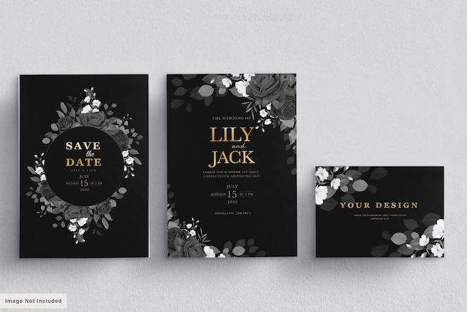 Zwarte bloemen bruiloft kaartenset