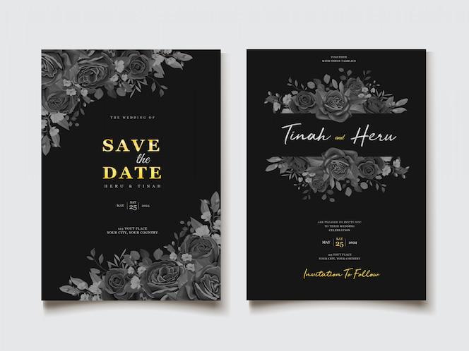 Zwarte bloemen bruiloft uitnodiging kaartsjabloon