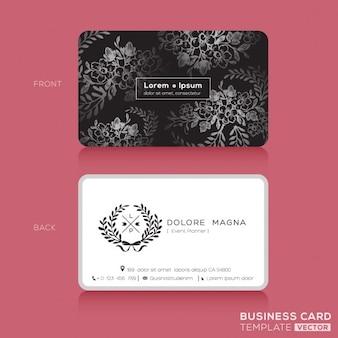 Zwarte bloemen vintage elegant visitekaartjes design template