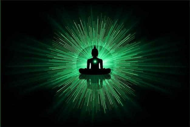 Zwarte boeddha silhouet tegen donkere achtergrond yoga