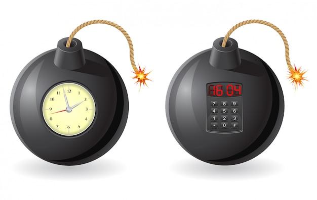 Zwarte bom met een brandende lont en een uurwerk