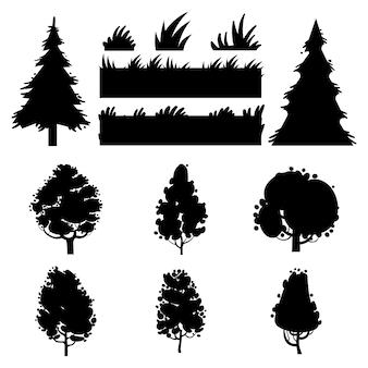 Zwarte bomen en gras vectorsilhouetten op witte achtergrond