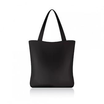 Zwarte boodschappentas voor uw merk. pakket sjabloon