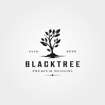 Zwarte boom pictogram logo vintage natuur