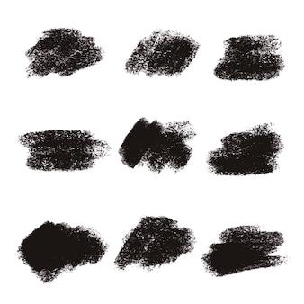 Zwarte borstel beroerte texturen collectie