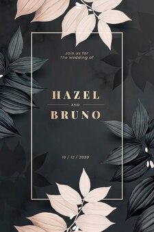Zwarte botanische bruiloft uitnodigingskaart