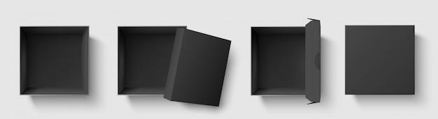 Zwarte bovenaanzicht doos. donkere pakket vierkante dozen met open dop, lege kubus pakketten mockup 3d geïsoleerde sjabloon vector illustratie set