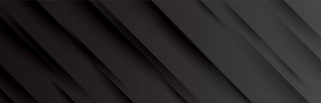 Zwarte brede banner met ontwerp met schaduwlijnen