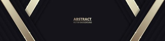 Zwarte brede luxe abstracte achtergrond met gouden lijnen en schaduwen.