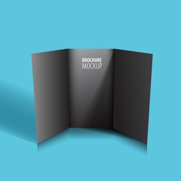 Zwarte brochure ontwerp geïsoleerd op blauw.