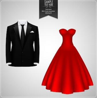Zwarte bruidegompakken en rode bruidsjurk