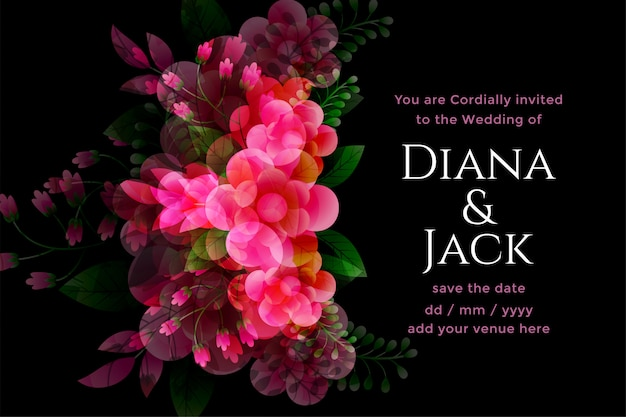 Zwarte bruiloft kaart met bloem decoratie sjabloon