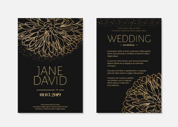 Zwarte bruiloft uitnodiging.