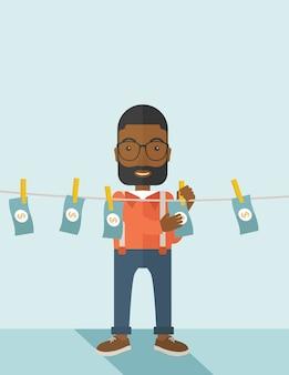Zwarte buisnessman hangt zijn geld.