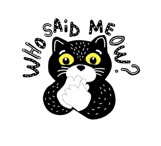 Zwarte cartoon kat en vlog-letters