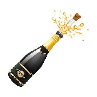 Zwarte champagnefles explosie met kurk en spatten