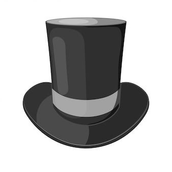 Zwarte cilinderhoed op een witte achtergrond