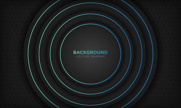 Zwarte cirkel abstracte achtergrond met blauwe lijndecoratie. modern technologie concept.