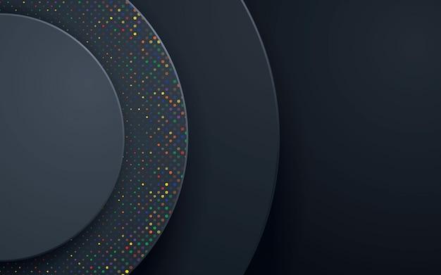 Zwarte cirkel abstracte achtergrond met kleurrijke glitters