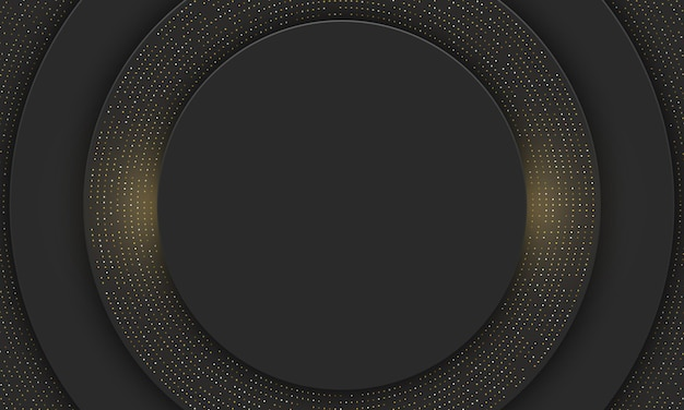 Zwarte cirkel met gouden stip banner achtergrond. vector illustratie.