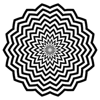 Zwarte cirkelvormige zigzaglijnen bloemen met een prachtig patroon met gestreepte bloemblaadjes.