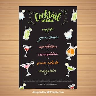 Zwarte cocktail menusjabloon