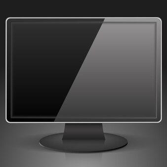 Zwarte computermonitor, illustratie