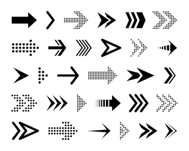 Zwarte conceptuele pijlen. verschillende zwarte pictogrammen. cursor.