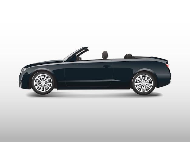 Zwarte convertibele auto die op witte vector wordt geïsoleerd