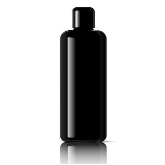 Zwarte cosmetische fles. gezichtstoner, haarshampoo