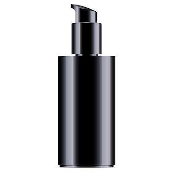 Zwarte cosmetische fles met pompdispenserdeksel