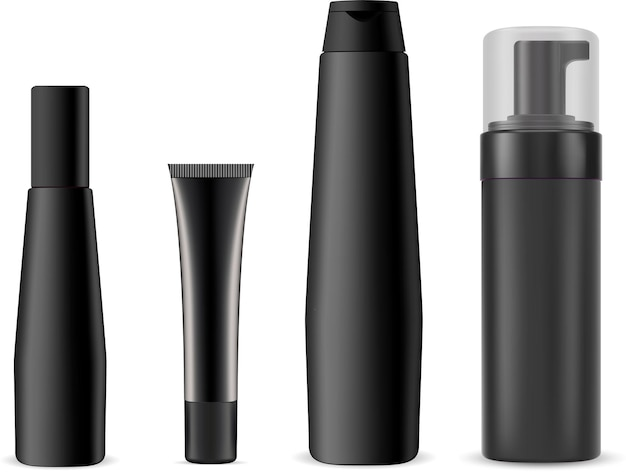Zwarte cosmetische fles, pompdispenser plastic container. cosmetische crème tube set