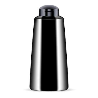 Zwarte cosmetische fles voor douchegel